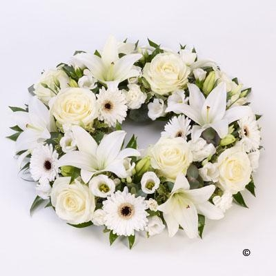 Rose and Lily Wreath   White *