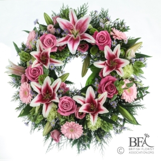 Pink Rose, Pink Lily and mixed flower Wreath